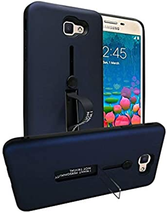 Samsung Galaxy J5 Prime Matte Shockproof Ring Stand PC TPU Back Case Cover - Navy Blue