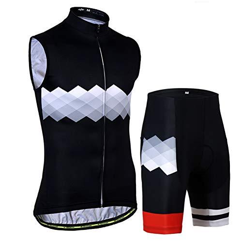 TZTED Maillot Ciclismo Verano Jersey De Sin Mangas + Pantalones Cortos Acolchados...