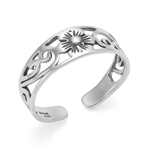 Heather Needham 0999 - Anillo para dedo del pie de flor de plata de ley ajustable
