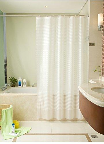 Moderne Einfach Stil Vertikale Streifen Weiß Extra Lang PEVA Duschvorhang 220cm x 200 cm Breite x hoch Wasserdicht Und Mehltaubeweis Entwurf Badezimmer Vorhang Haken Inbegriffen