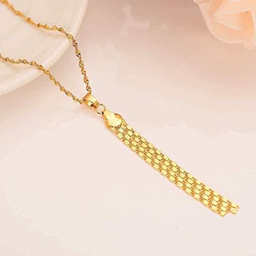 ZGYFJCH Co.,ltd Collar romántico Borla de Oro Collar de Oro Macizo Colgante joyería Vintage Mujeres niñas Regalo de Boda para Madre
