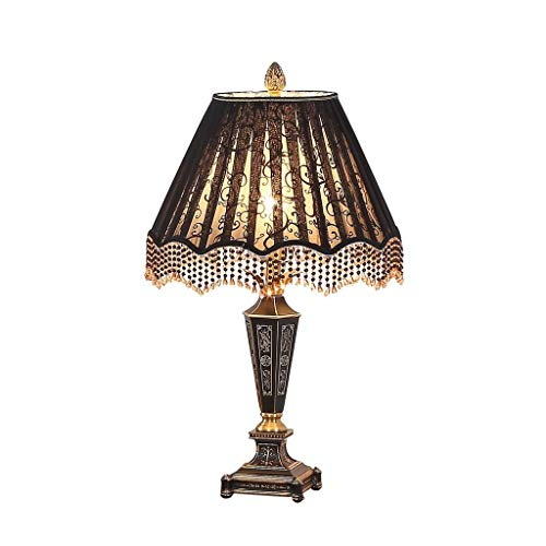 CKH Medieval Royal Style Table Lamp Classical Living Room Study European Style High-end Palace Villa Luxury Black Bedside Light Lace Tassel Desk Lamp