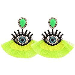 Light-Green Geometric Fringed Multicolor Drop Earring With Rhinestones