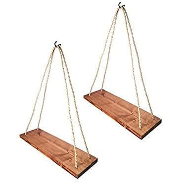 Rustic Farmhouse Wood Hanging 17  Distressed Wall Shelf (Set of 2) - Floating Shelves With Rope and Mounting Hardware – MADE IN USA - Modern Country Decor For Plant Display, Office, Organization