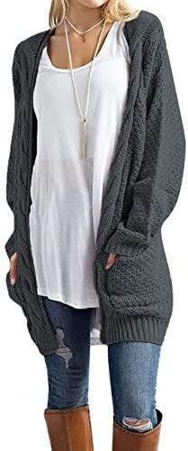 OmicGot Womens Open Front Cardigan Sweaters Cable Knit Long Sleeve with Pockets Warm Tops Maternity product image