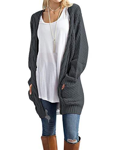Traleubie Women's Open Front Long Sleeve Boho Boyfriend Knit Chunky Cardigan Sweater Dark Grey L
