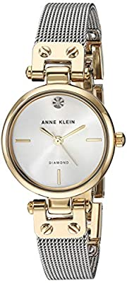 Anne Klein Women's AK/3003SVTT Diamond-Accented Two-Tone Mesh Bracelet Watch