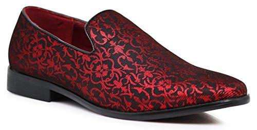 ARK1 Men's Vintage Satin Silky Floral Fashion Dress Loafers...