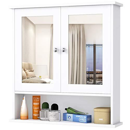 GIANTEX Hängeschrank mit Spiegel, Spiegelschrank Wandschrank zweitürig, Badschrank Badezimmerschrank mit verstellbarem Einlegeboden, 3 Etagen, 56,5x13,5x58,5cm, weiß