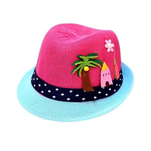 Evansamp süßer Cartoon-Hut für Babys und Kinder, atmungsaktiver Hut für Sommer, Strand, Strohhut für Jungen und Mädchen Einheitsgröße hot pink