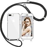 Nupcknn Funda de silicona líquida para iPhone 7 Plus/iPhone 8 Plus/iPhone 6S Plus, funda para el cuello (extraíble), funda con cordón para colgar, funda protectora con banda (transparente)