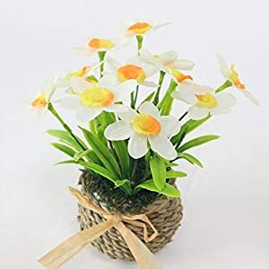 Artificial and Dried Flower Simulation Daffodil Set Artificial Narcissus Flower Silk Flower Plants Wedding Flores Home Decoration – ( Color: White )
