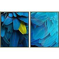 絵画 キャンバス インテリア リビング 装飾画 アート 抽象的な羽の装飾の絵画北欧の羽ばたき羽の青い装飾垂直プリントリビングルームのソファの絵画 壁掛け 部屋飾り リビングルーム 50x70cmx2/19.7*27.5inch*2 Unframed