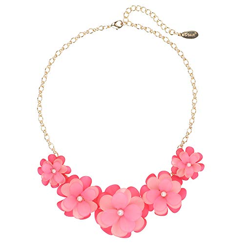 Bocar Newest Acrylic Pendant Collar Flower Statement Choker Necklace for Women (241-pink)
