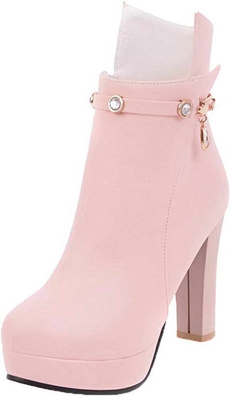 WeenFashion Women's High-Heels Pu Low-Top Solid Zipper Boots, AMGXX125805