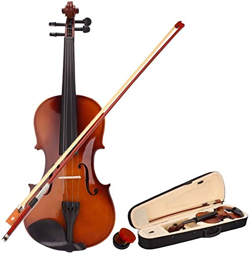 1/8, 1/4, 1/2, 3/4, 4/4 Violin Set Fiddle Quarter Size EVA-2 for Kids Beginners Students with Hard Case, Rosin, Bow (1/2, natural)