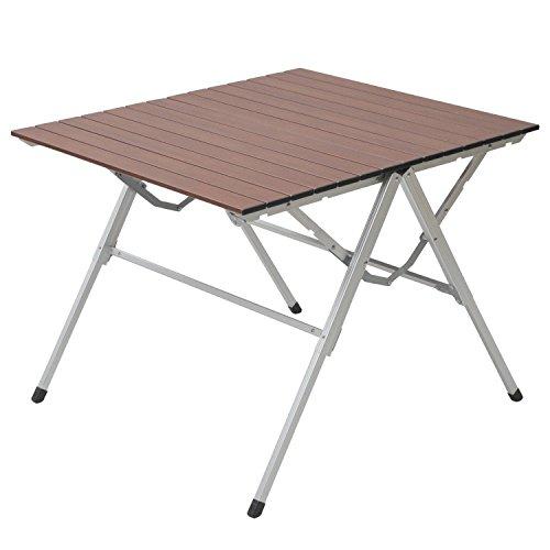山善 キャンパーズコレクション スタイルワンアクションテーブル(幅81奥行70) ウッドプリント OAT-8070(WP)