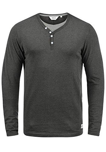 !Solid Doriano Herren Longsleeve Langarmshirt Shirt Mit Grandad-Ausschnitt, Größe:M, Farbe:Dark Grey Melange (8288)