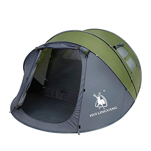 6 Person Easy Pop Up Tent,12.5' x 8.5' x53.5,Automatic Setup,Waterproof, Double Layer,Instant Family Tents for Camping,Hiking & Traveling,Green