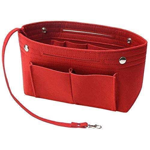 Soyizom Filz Handtasche Organizer Bag in Bag,Innentaschen für Handtaschen Organizer mit Schlüsselkette für Speedy Neverfull,8 Farben (Rot,Klein)