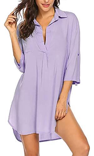 heekpek Copricostumi Donna Mare Camicia Vestito da Spiaggia Costume da Bagno Camicia Bluse Donna Maniche a 3/4 Copricostume Estivo