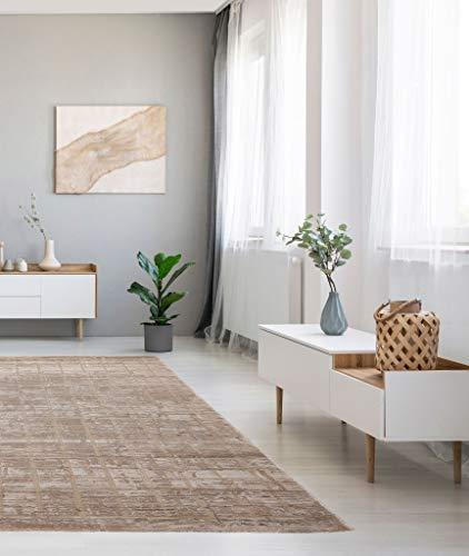 Flycarpets - Luras – Alfombra de interior – rectangular – moderno – pelo corto 10 mm – en tamaño 120 x 170 – en beige – a cuadros – tejido turco