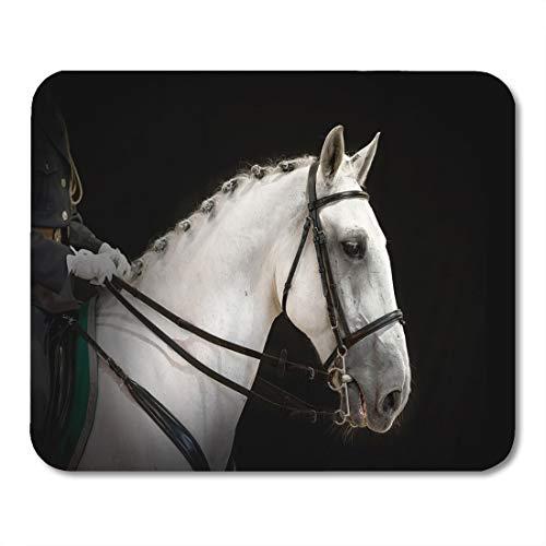 Muismat magisch dier wit paardenportretgrijs Dressur op zwart ras muismat met mocassin Champoin