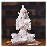 JXXDDQ Buda Estatua Naturaleza Arenisca Tailandia Buda Escultura Hindú Fengshui Estatuilla Meditación Miniatura Decoración del hogar (Color : White Buddha)