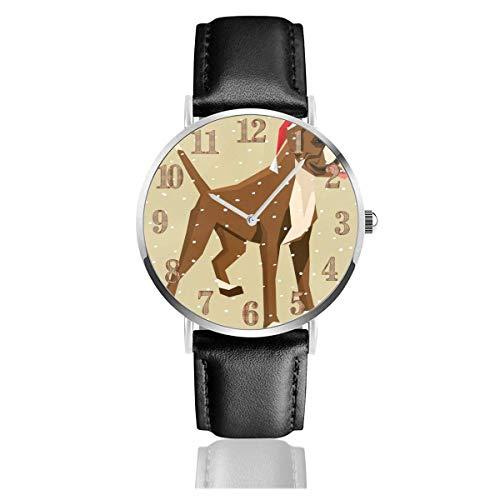 Watches Reloj de Pulsera Analógico Monoaguja de Cuarzo para Hombre Reloj para Hombre de Cuarzo Perro Toro De Navidad con Correa en Cuero