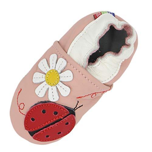 Carozoo Weiche Sohle Leder Baby Kinder Hallenschuhe Prewalker (16 Designs), Pink - Marienkäfer-Blume, Rosa - Größe: 2-3 Jahre