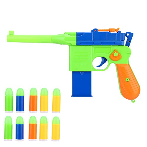 Dilwe Toy Gun Pistole, Safe Realistic 1911 Toy Gun Blaster Gun Spielzeug mit Soft Bullet Ball für Kinder Outdoor Spielzeug Geschenk(Orange+Blau)