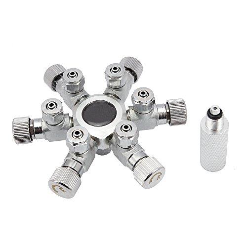 SENZEAL Válvula de regulador del Divisor del CO2 Válvula de Aguja del solenoide de la aleación de Aluminio para el Tanque del Acuario Seis Maneras de la Plata