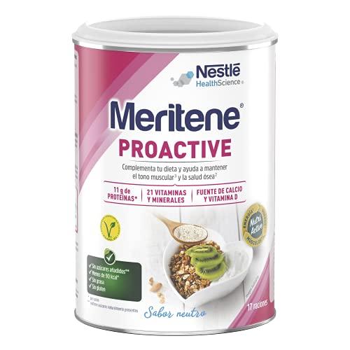Meritene® Proactive - Formato Polvo - Neutro - 408 g - Una combinación de nutrientes para la mujer en la peri-/menopausia para ayudar a mantener el tono muscular, energía y salud ósea