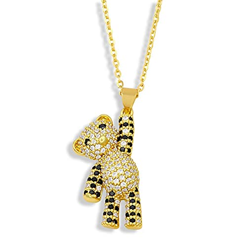 NVTHINH Pendant Necklace Women Jewelry Cute Bear Necklace for Women Pave Setting Zircon Collares Gold-chain New Necklace 2021 (Metal Color: Design 1)