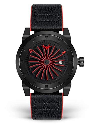 Zinvo Blade Corsa Turbine Automatik Miyota Edelstahl 316L IP Schwarz Rot Datum Leder Sapphire Herren Uhr