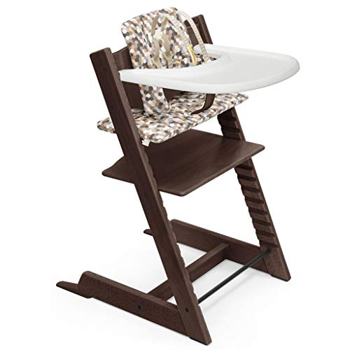 Tripp Trapp by Stokke Adjustable Wooden Walnut Baby High Chair (Includes Baby Seat with Harness, Honeycomb Calm Cushion and White Tray)