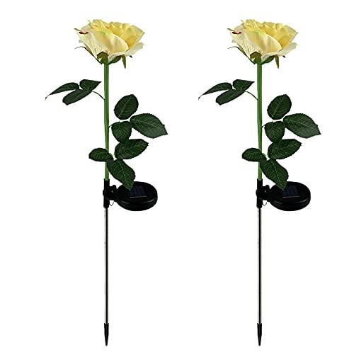 Sogaml Juego de 2 luces de jardín, luces de flores amarillas con luces LED solares con hojas verdes, lámpara de luz para jardín, patio, decoración de casa