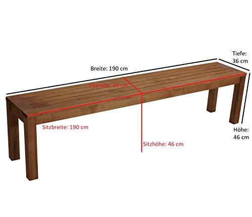 Hockerbank BONITA 4-sitzer 190cm ohne Rückenlehne, Eukalyptus Hartholz, FSC®-zertifiziert - 3