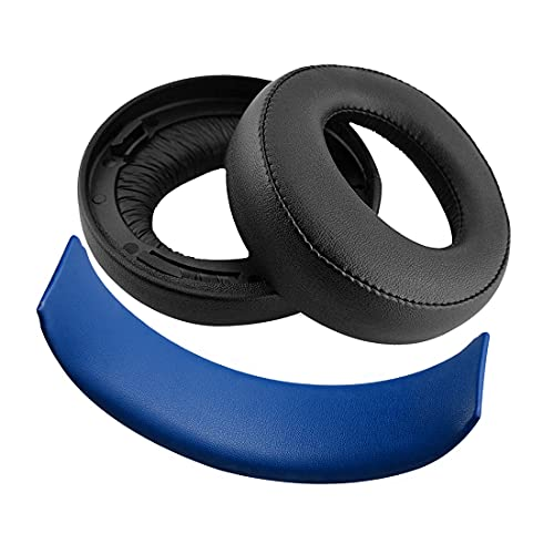 Geekria Earpad Replacement for Playstation Gold Wireless/Sony PS4 / PS3 / PSV Gold Wireless Headphone Ear Pad and Headband Pad/Ear Cushion + Headband Cushion/Repair Parts Suit (Black/Blue)