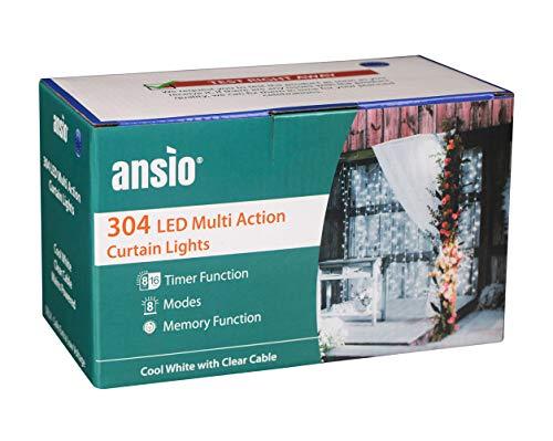 ANSIO Weihnachtsbeleuchtung 304 LED Vorhang Lichter 3mx3m Lichterketten Avec 8 Modes Netzstromversorgung für Fenster/Zuhause/Hochzeit/Party/Weihnachtsdekoration Kaltes Weiß