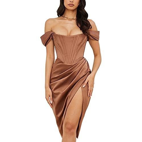 EpicLife Vestido de banquete sexy para mujer Color sólido sin mangas fuera del hombro dividido cintura alta sin tirantes vestido Midi partido, marrón, XL