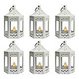 Vela Lanterns Mini Candle Lantern with Flickering LED Tea Light Candle, Batteries Included, White, Set of 6