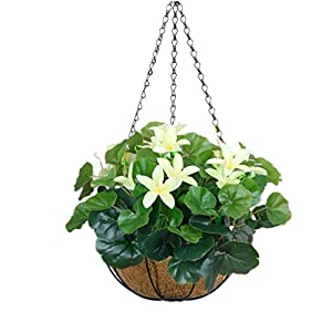 Mynse Silk Begonia Leaves and Silk Lily Flowers Hanging Basket with Chain Artificial Begonia Leaves for Balcony Indoor Decoration