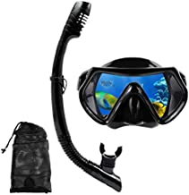 DIPUKI Snorkel mask Snorkeling Set for Adults and Youth, Diving mask and Full Dry Snorkel Swim Googles is Suitable for Snorkeling, Dive Scuba Diving, Swimming (Black)