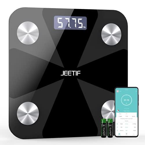 Körperfettwaage, Personenwaage Digital mit App, Wireless Smart Digitale Waage für Körperfett, Muskelmasse, BMI, Gewicht, Wasser, Protein, BMR