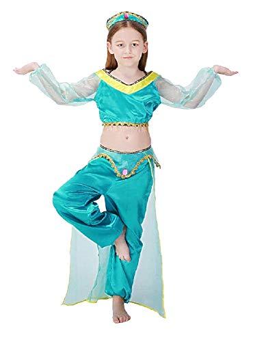 Inception Pro Infinite Vestito Jasmine Bambine - Araba - Odalisca - Travestimento - Principessa - Hallowen - Carnevale - Bimbe - Cosplay - Azzurro (Misura 130 - Idea regalo originale - 8 anni) - 7