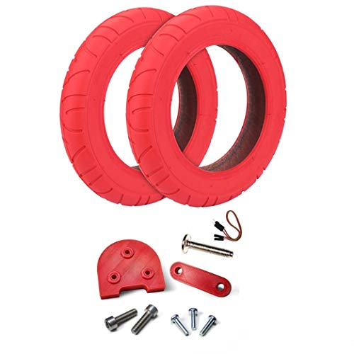 Myfuturshop® Ruedas Rojas 10 Pulgadas para Patinete Xiaomi M365, S1, Essential, Pro Y PRO2 + Kit Espaciador para Usar Ruedas Grandes. (Rueda ROJA + Rojo)
