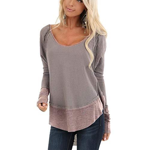 For Sale! Amlaiworld Fashion Women Plus Size Blouse Long Sleeve Casual Crewneck Tops Patchwork Waffl...