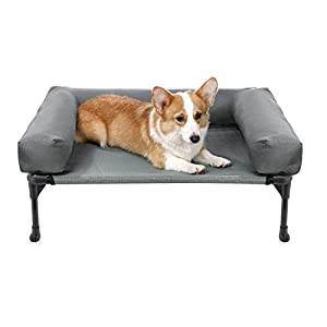 Veehoo Bolster Elevated Dog Bed – Cooling Raised Pet Bed Chew Proof Textilene Mesh, Durable & Washable Pet Cot, Medium, Gray