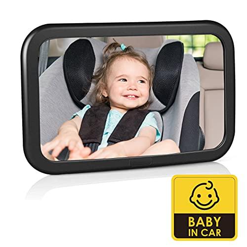 Espejo Retrovisor para Coche de Bebé, Espejo para Monitor de Bebé 360° Giratorio e Inclinable, Espejo de Coche para Asiento Trasero 100% Inastillable, Correas Elásticas Ajustables y Fácil Instalación